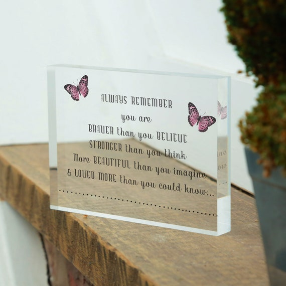 Bravery Quotes Glass Block, Inspirational Gifts for Cancer Patients, Sentimental Gifts For Him