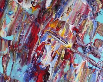 Colours on Blue - original artwork by Katherine Clarke