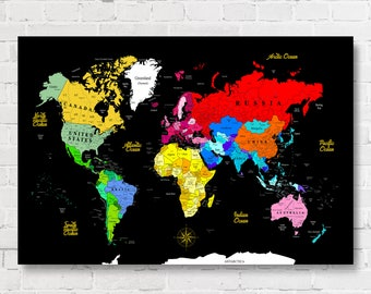World Map Poster, Detailed World Map, Map Of The World, Travel Map, World Map, Map Your Travels, World Map Wall Art