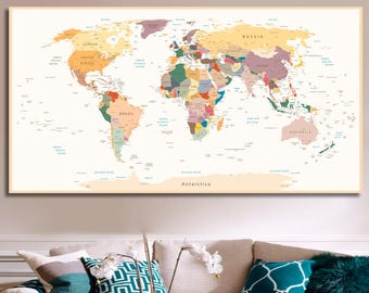 World map decor etsy detailed world map travel map of the world map detailed push pin travel map with frame world map for traveling push pin world map decor art gumiabroncs Gallery