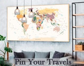 Detailed World Map Travel Map of the World Map Detailed Push Pin Travel Map with Frame World Map for Traveling Push Pin World Map Decor Art