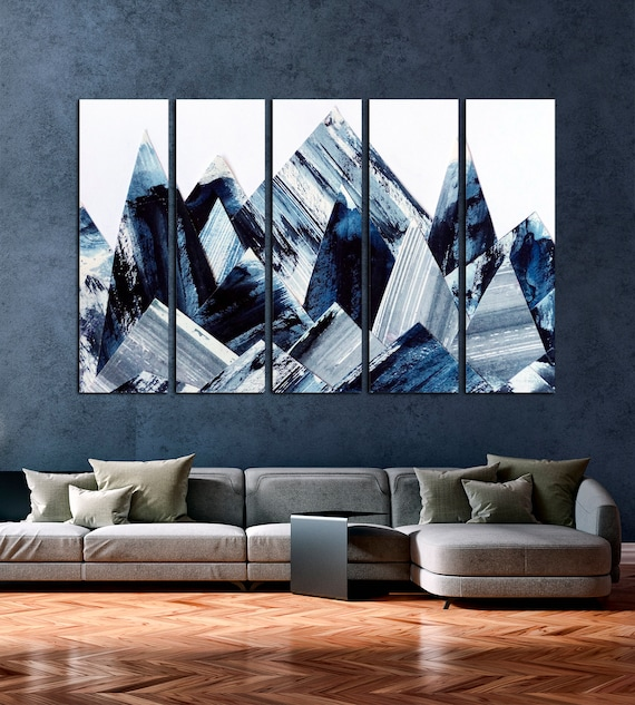 Abstract Mountains Wall Art Abstract Canvas Print Mountains Canvas Set Modern Abstract Art Abstract Giclee Print