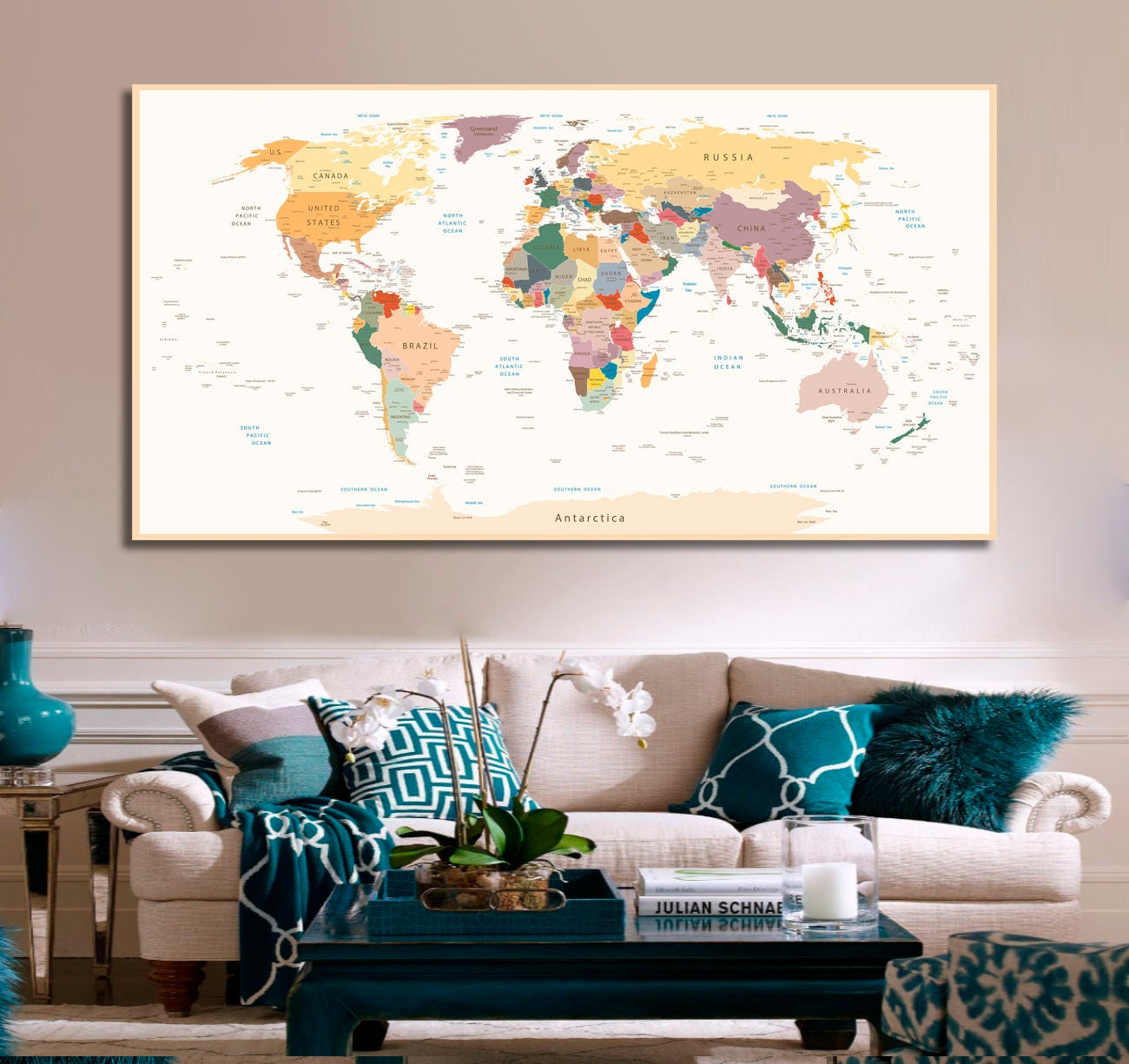 Detailed world map travel map of the world map detailed push etsy zoom gumiabroncs Images