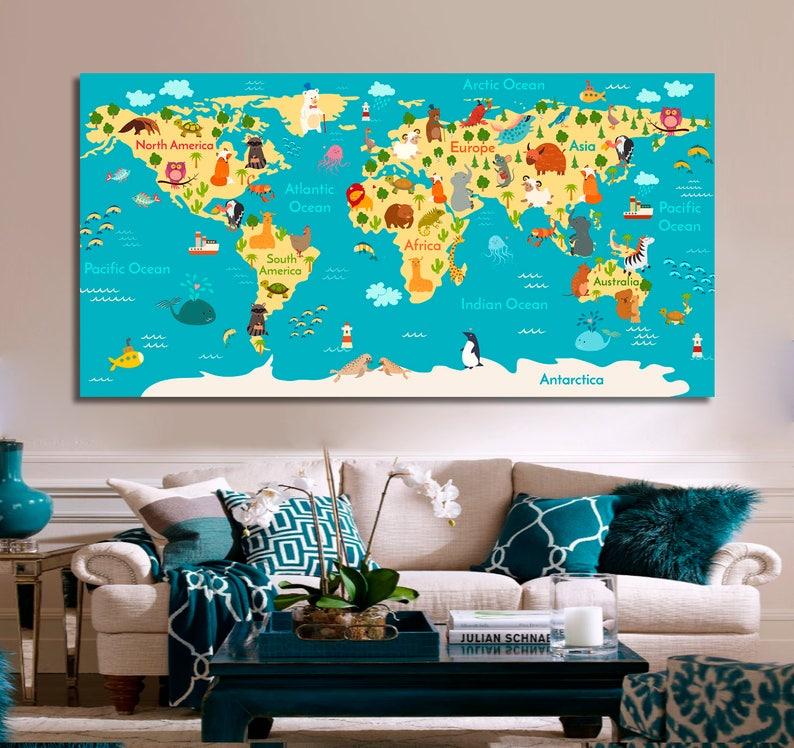 Kinder Weltkarte Wand Dekor Kinder Weltkarte Wandkunst | Etsy
