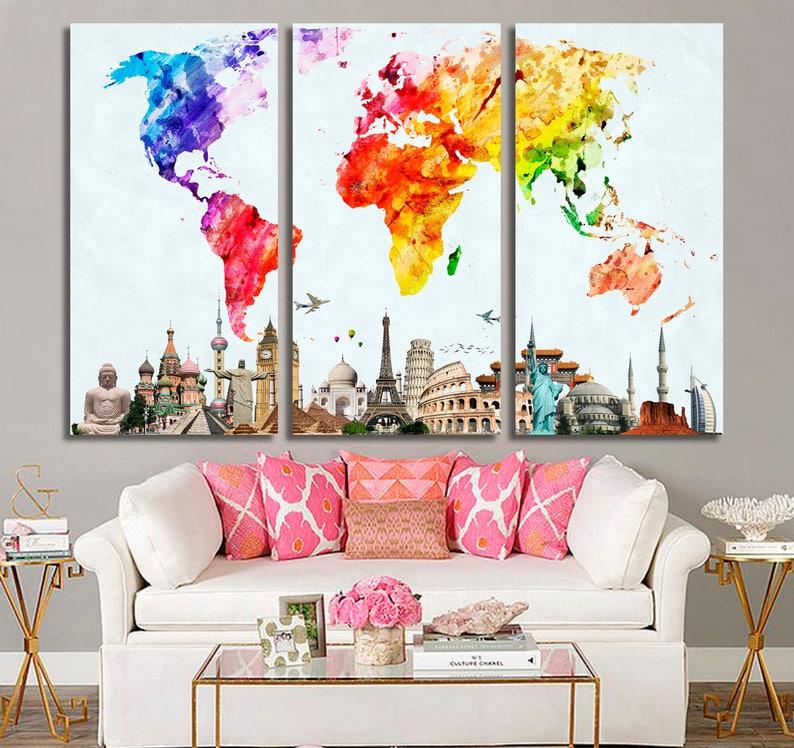 Large World Map, World Map Poster, World Map, World Map Wall Art, World Map  Wall Decor, World Map Canvas Art, World Map Canvas, Watercolor
