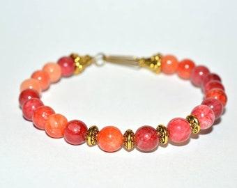 Red Quartz 6mm Gemstone Bead Wirework Bracelet