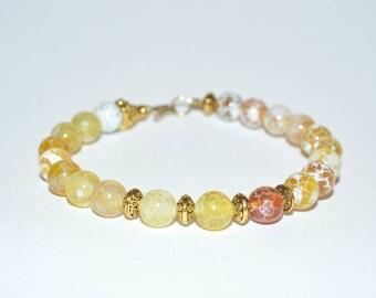 Fire agate 6mm gemstone bead wirework bracelet