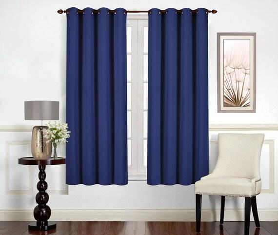 Navy blue Custom made curtains. Darkening Room Panels. Grommet top Bronze,  Window Drapes. Heavy Fabric Bedroom Curtains. Set of 2