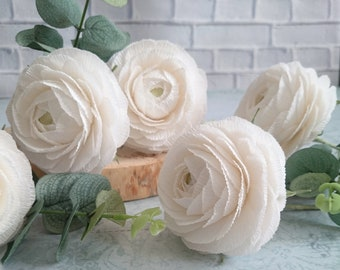 Crepe paper flowers etsy white paper ranunculus home paper decor paper flower bouquet paper flowers crepe paper bouquet paper flower set crepe paper flower mightylinksfo