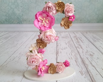 Rose Gold Initial Flower Letter E Nursery Lettering Pink Baby Floral Name Decor