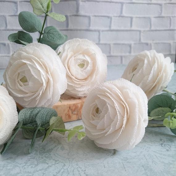 White paper ranunculus home paper decor paper flower bouquet etsy image 0 mightylinksfo