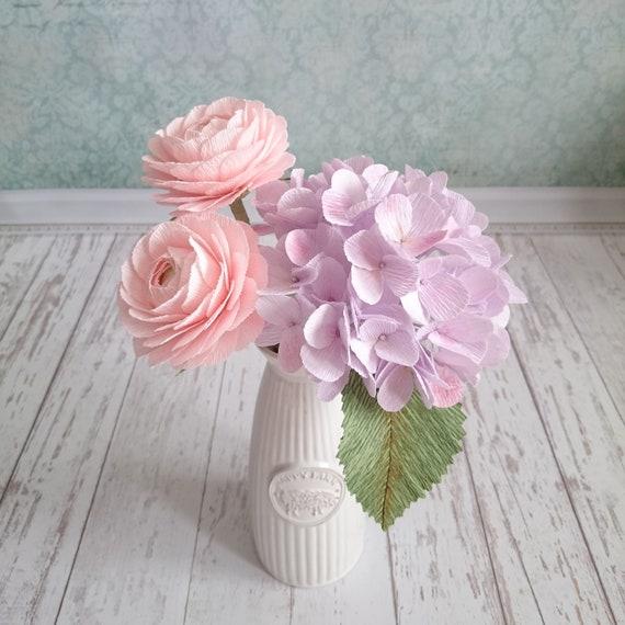 Artificial Paper Flower Arrangement Pink Ranunculus Stem Lilac Etsy