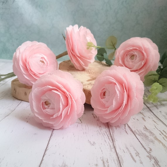 Pink paper ranunculus paper flower bouquet custom flower paper mightylinksfo