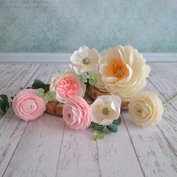 Paper Flower Bouquet Peony Centerpiece Crepe Paper Flowers Etsy