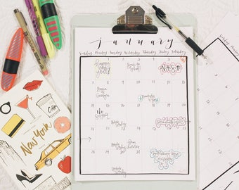 2018 Monthly Calendar - PRINTABLE