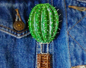 Handmade ooak polymer clay cactus airbaloon brooch