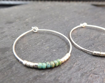 Turquoise beaded hoops - simple silver & turquoise