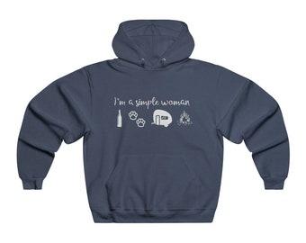 I'm a Simple Woman, Camping Hoodie, Beer, Camper, Dog Paws, Camp Fire Unisex NUBLEND® Hooded Sweatshirt