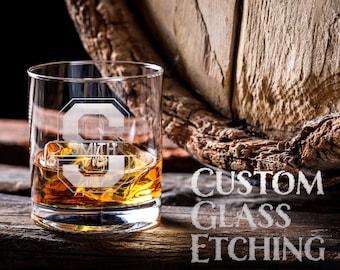 Custom Cocktail Glasses, Personalized Monogram Rocks Glass, Etched Custom Groom Whiskey Glass, Custom Etched Glass Retirement