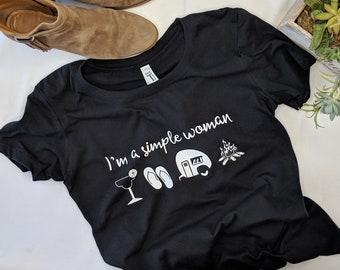 I'm a Simple Woman, Camping Shirt, Campfire, Margarita, Flip-flops, Flip Flops, Shirts for Women, Cute Shirt for Women, Custom shirt