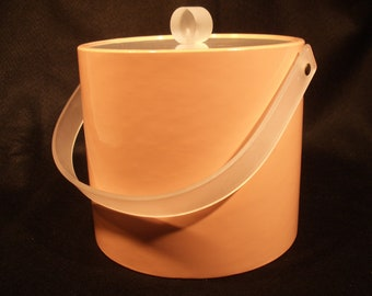 Awesome Vintage Mod Ice Bucket Peach, Patent Vinyl and Frosted Lucite