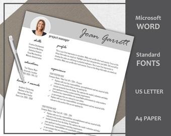 Professional Resume Template / CV Template | Modern Resume | Minimalist Resume |Teacher Resume | Word Template Resume | Instant Download