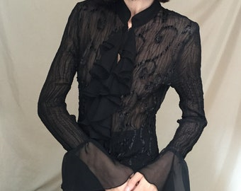 90's Black Blouse with Ruffle Collar and Sleeves, small to medium