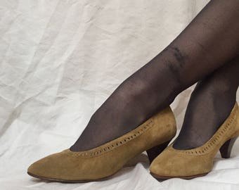 Italian Pear Colored Suede 1980's Heels