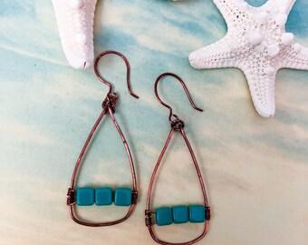 Turquoise beaded Copper Hoop Earring