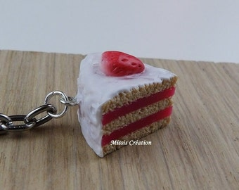 Keychain slice of strawberry cake / Polymer paste, Fimo / Simple metal ring, heart charm