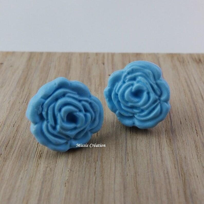 Blue rose Stud Earrings