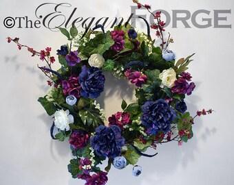 Vivid Blue and Purple Peony Wreath