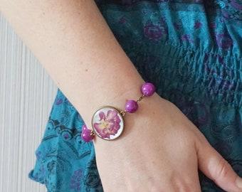 Purple bracelet Nature lover gift link bracelet dry flower bracelet woodlanf jewelry charm bracelet fashion bracelet floral bracelet for her