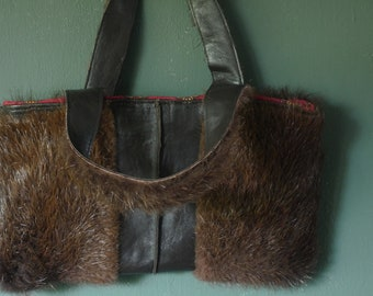 Handbag of vintage fur coat