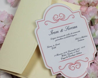 Invitations, Custom Handmade Invites,Personalized Invitation, Pocket 1 Invitation