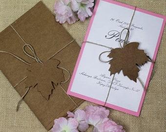 Recycled Wedding Invitations, Natural Wedding Invitations, Country Wedding Invitations, Leaf invites, Recycled leaf invitations