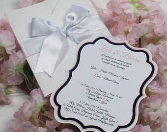 White invitation, Custom handmade invites, Personalized invitation, White eibbom invitation, Elegant Wedding Invitations