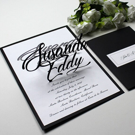 3d Pop Up Wedding Card Personalized Laser Cutting Invitations Bride Groom Customized Wedding Invitation Black White Wedding Invitations