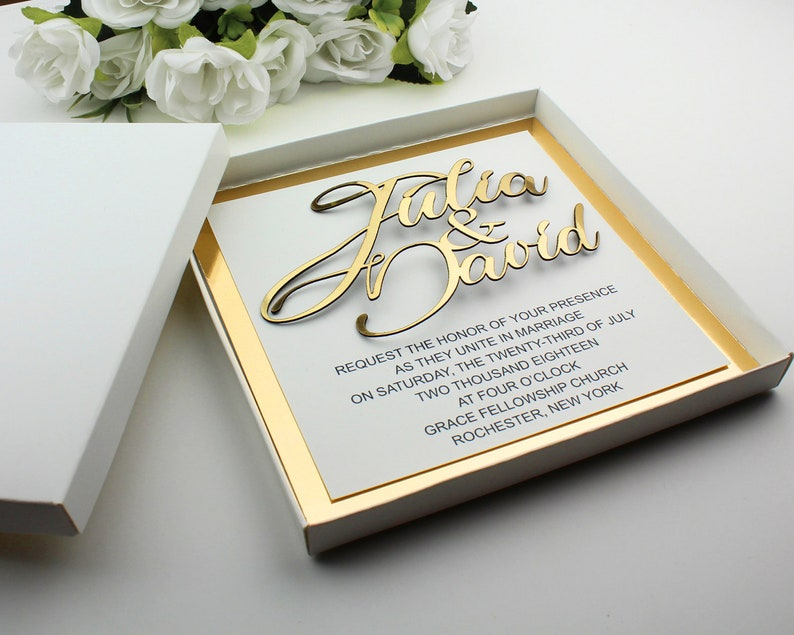 Wedding Invition Cards.Gold Wedding Invitations Boxed Wedding Invitation Cards Laser Cutting Invitations 3d Invitations Custom Invitations