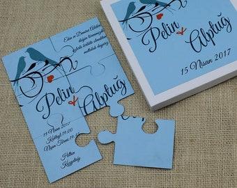 Puzzle Invitation, Custom Handmade Invites, Puzzle Personalized Invitation, Boxed Puzzle Invitation