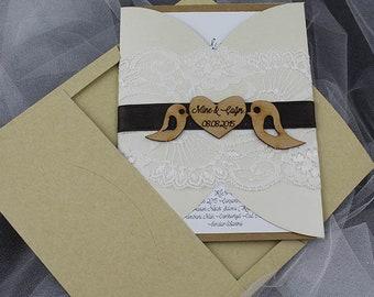 Rustic wedding invitation, bird invitation, simple invitation,  rustic invitation, rustic modern invitation