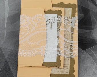 Orange Lace wedding invitation, invitation, simple invitation,  rustic invitation, rustic modern invitation, Lace invitations