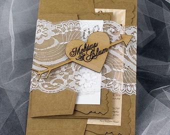 Rustic Lace wedding invitation, invitation, simple invitation,  rustic invitation, rustic modern invitation, Lace invitations
