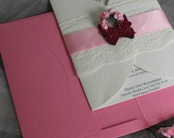 Wedding invitation, glitter wedding invitation, glitter heart wedding invitation, butterfly wedding invitation, country invite