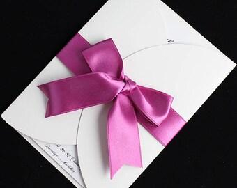Fuchsia wedding Invitation cards, Fuchsia ribbon invitations,