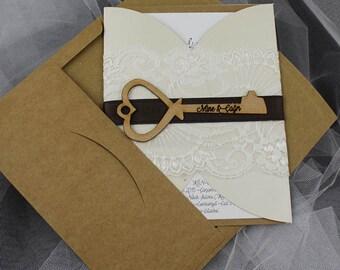 Key Rustic wedding invitation, invitation, simple invitation,  rustic invitation, rustic modern invitation