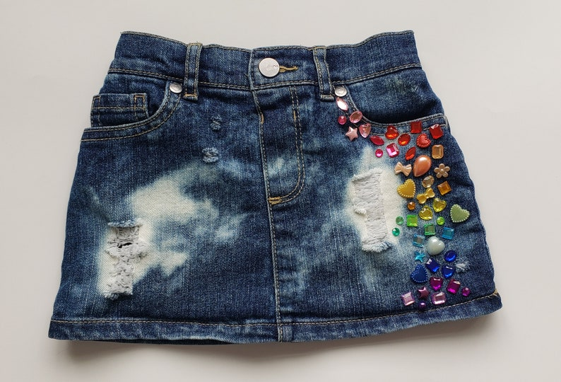 girls denim skirt baby distressed jean skirt toddler distressed jean skirt ripped bleached distressed jean skirt trendy skirt beaded skirt
