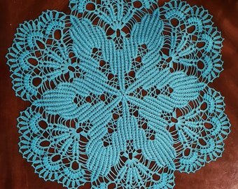 Blue stunning handmade crochet doilies 24 High quality  Egyptian cotton.