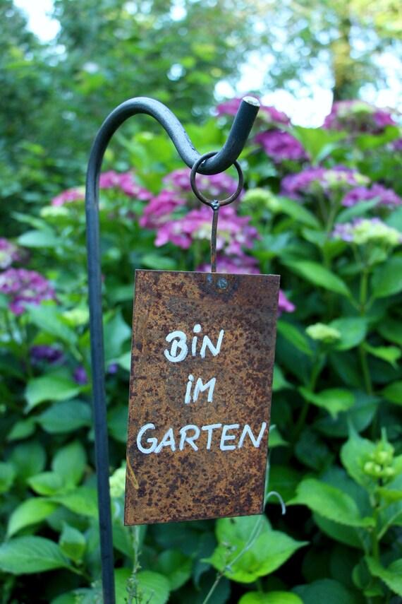 """Gartenschild Gartendekoration Emailleschild /""""Bin im Garten/"""""""