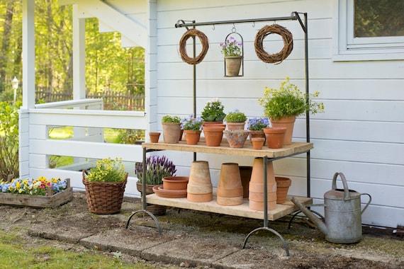Flower bench bakes and Wood, Planting Table, Garden, Diy, pot garden,  Garden Decoration, Mother\'S Day, herb garden, vegetable garden, Perennials